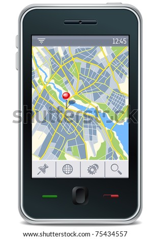gps navigator interface with city map and place pin - stock vector
