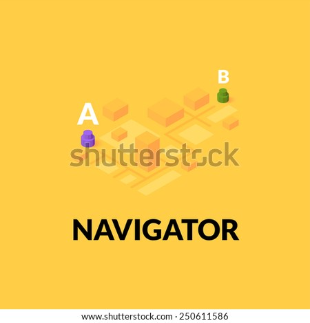 GPS navigator street map with flat isometric buildings, vector illustration - stock vector