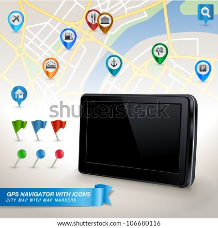 GPS navigator with city map and set of GPS icons - stock vector