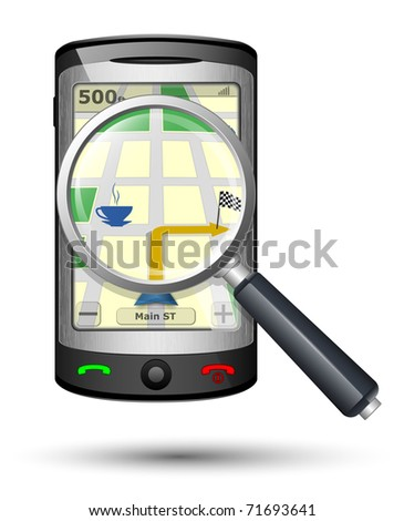 GPS Navigator with magnifying glass, Vector illustration - stock vector