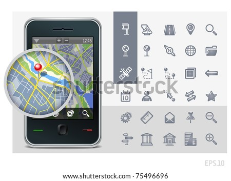 gps phone interface icons set and map with pin - stock vector