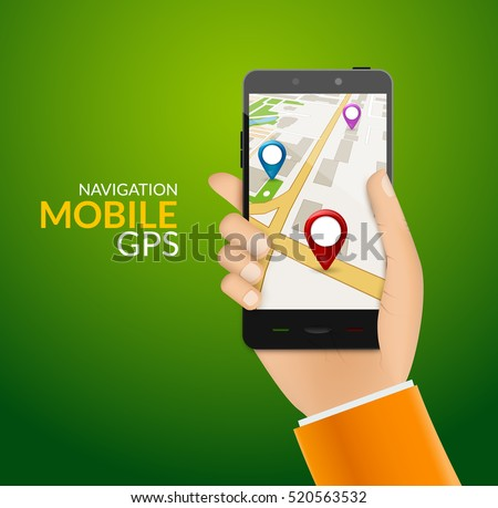 GPS phone navigation - mobile gps and tracking concept. Hand holding a mobile phone with city map