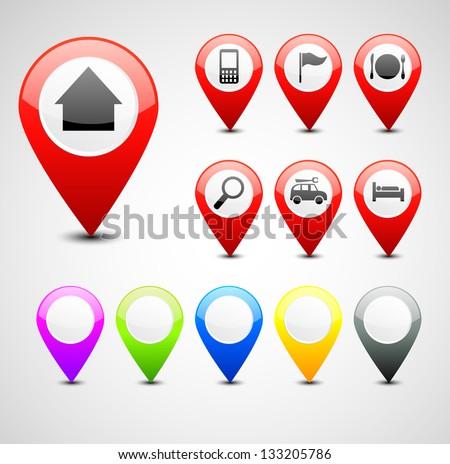 GPS pin set - stock vector