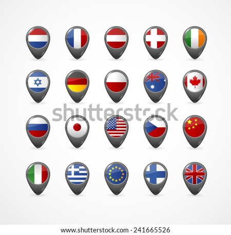Gps Pin with flag for map, vector illustration on white - stock vector