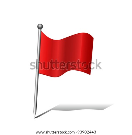 GPS Red pin flag icon isolated on white background editable - stock vector
