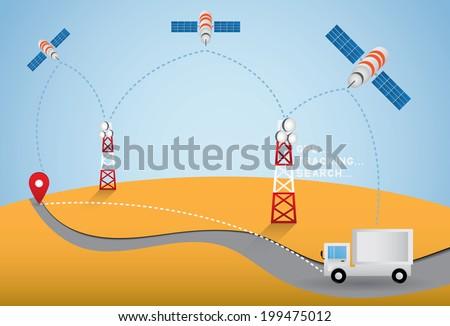 GPS truck - stock vector