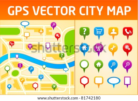 Gps vector city map with navigation icons - stock vector
