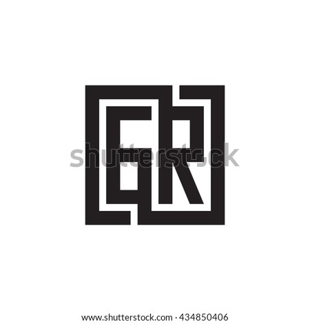 GR initial letters looping linked square monogram logo