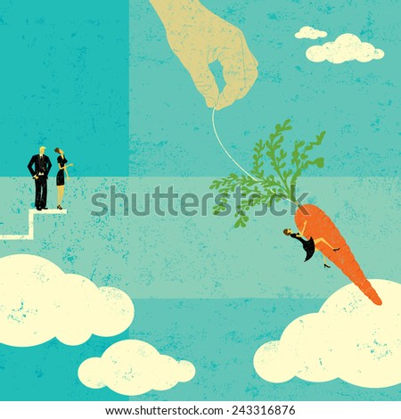 Grabbing the Carrot People watching as a businesswoman takes a chance and jumps for the dangling carrot. The people, hand,and carrot are on a separate labeled layer from the background. - stock vector