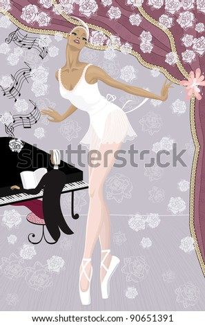 Graceful ballerina on the stage showered with flowers and  pianist at the piano in the background - stock vector