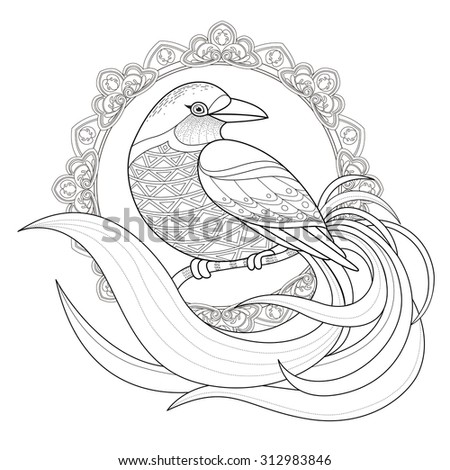 graceful bird coloring page in exquisite style - stock vector