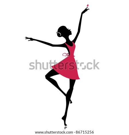 graceful dancer with a butterfly - stock vector