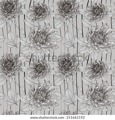 graceful floral seamless pattern over grey background - stock vector