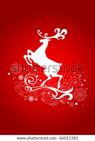 Graceful Reindeer on the Red Background - stock vector