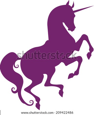 Graceful silhouette of a unicorn for design - stock vector