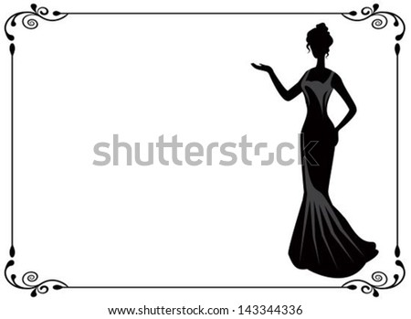 graceful silhouette of a woman in a dress in retro frame - stock vector