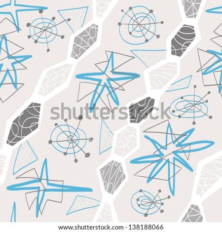 graceful textile geometric seamless pattern - stock vector
