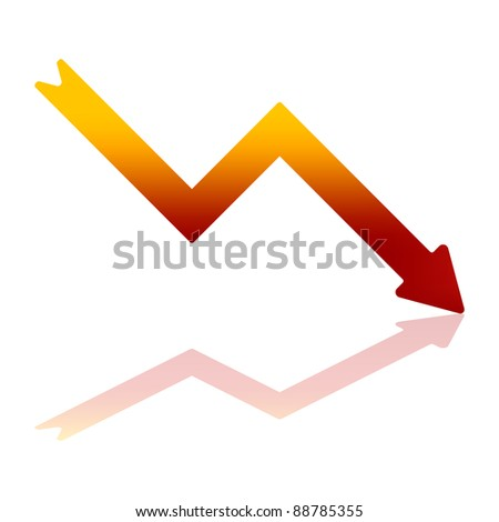 Gradient Color Arrow Indicating Financial Decline With Reflection on Bottom Plane - stock vector
