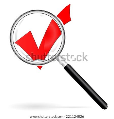 Gradient Magnifier enlarges assent - stock vector