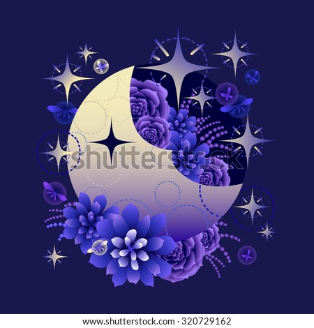 Gradient moon with succulent design among stars and glowing butterflies on dark evening background - stock vector