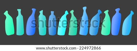 gradient neon different colored bottles in a row in gray background