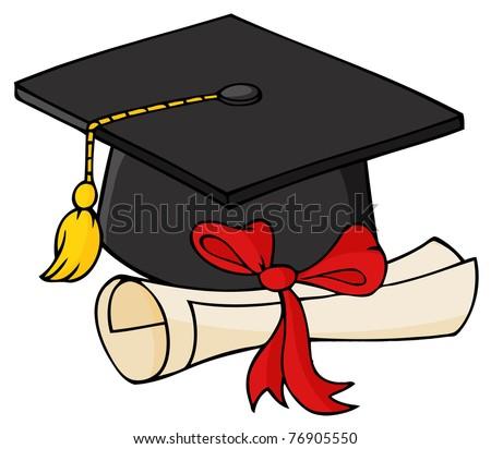 Graduate Black Cap With Diploma - stock vector