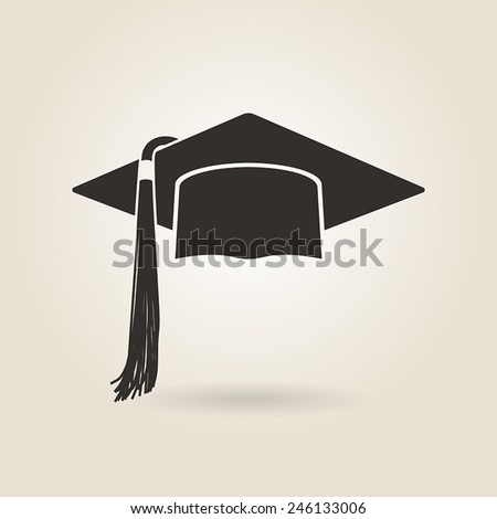 graduate cap icon on a light background - stock vector