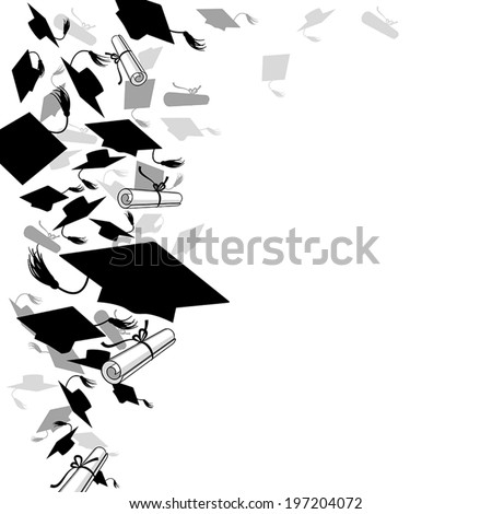 graduate caps  and diploma on a white background - stock vector