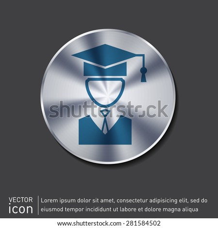 graduate hat avatar sign. the head of the student learner. Education sign, symbol icon college or institute. graduation - stock vector