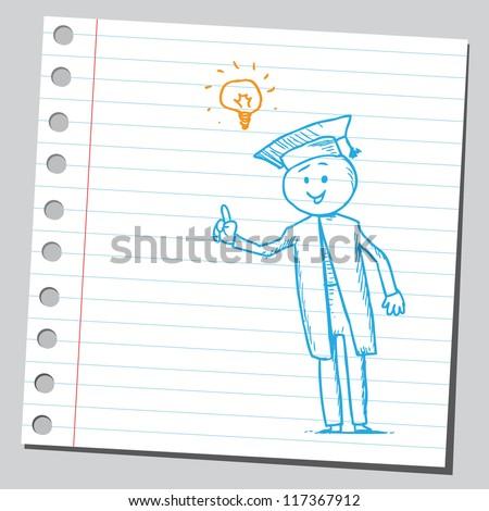 Graduate having idea - stock vector