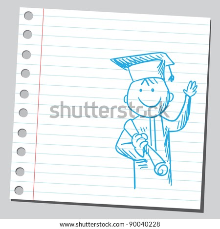 Graduate holding diploma - stock vector