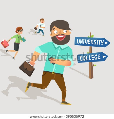 Graduate running. People running to the university or college. Education concept. Vector colorful illustration in flat style  - stock vector