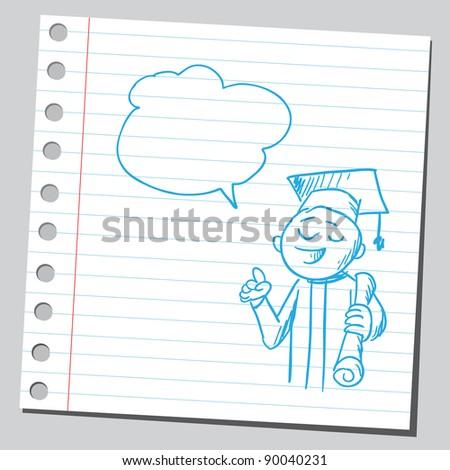 Graduate speaking - stock vector