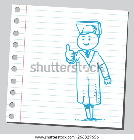 Graduate student with thumb up - stock vector