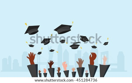 graduate students of pupil hands in gown throwing graduation caps city background.