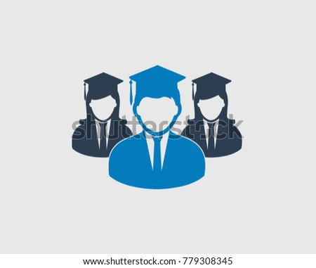 graduate students team icon graduate head stock vector royalty free