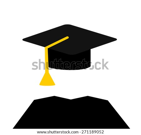 graduate wearing cap and gown - stock vector