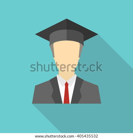 Graduated boy, man in an academic cap icon. Avatar and person illustration. Flat colored icon with long shadow. Vector illustration - stock vector