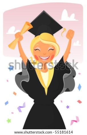 graduated girl - stock vector