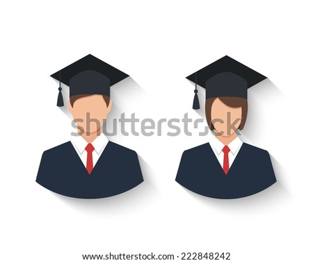 graduates in gown and graduation cap icon. colorful flat style vector illustration - stock vector