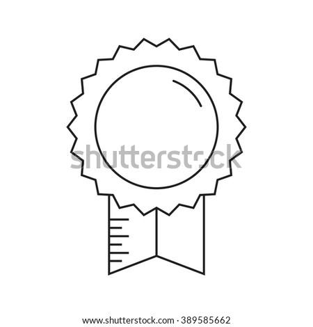 Graduation award ribbon. Insignia badge thin line vector icon isolated on white. Line art monochrome insignia pictogram - stock vector