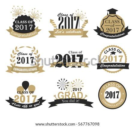 Graduation 2017 Badges Signs Symbols Graduation Stock ...