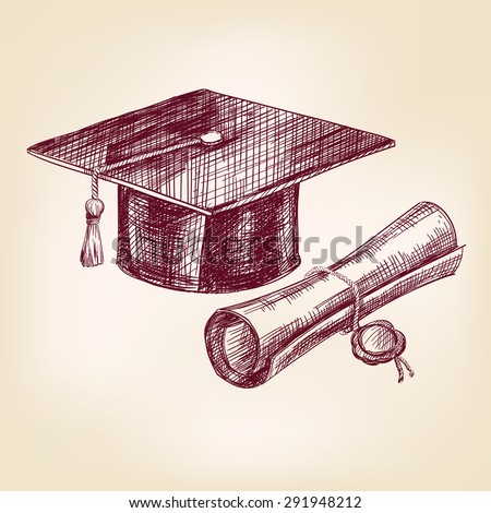 graduation cap and diploma hand drawn vector llustration realistic sketch - stock vector