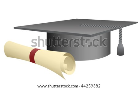 Graduation cap and diploma isolated.