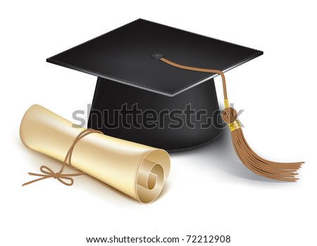 Graduation cap and diploma. Vector - stock vector