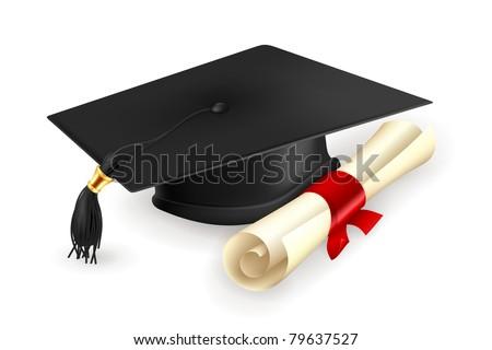Graduation cap and diploma, vector - stock vector