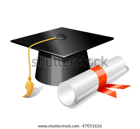Graduation cap and diploma. Vector illustration - stock vector