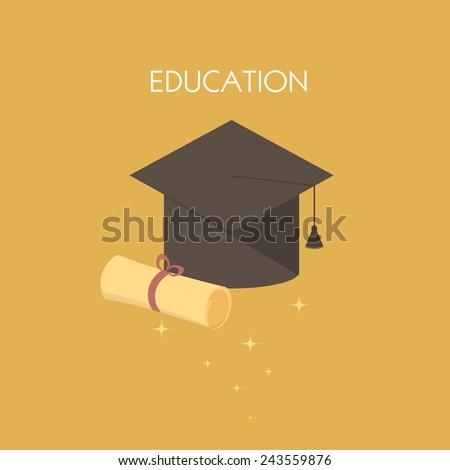Graduation cap and diploma. Vector illustration icon - stock vector
