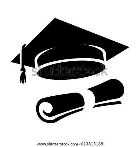 graduation cap diploma web icon black stock vector 2018 613815188 rh shutterstock com Graduation Cap Drawing Graduation Cap Vector