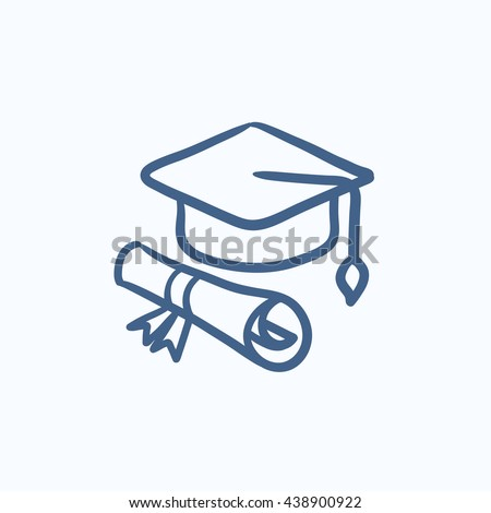 Graduation cap and paper scroll vector sketch icon isolated on background. Hand drawn Graduation cap and paper scroll icon. Graduation cap and paper scroll sketch icon for infographic, website or app. - stock vector